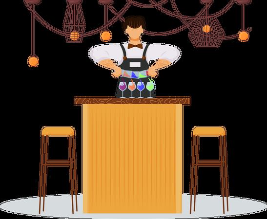 Barman making drinks Illustration
