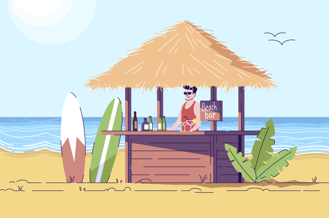 Bartender at counter Illustration