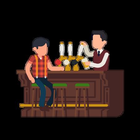 Bartender giving beer to the customer Illustration