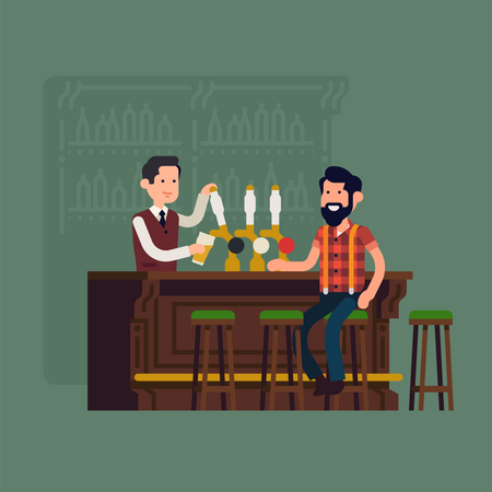 Bartender serving customer at bar counter pouring beer from tap Illustration