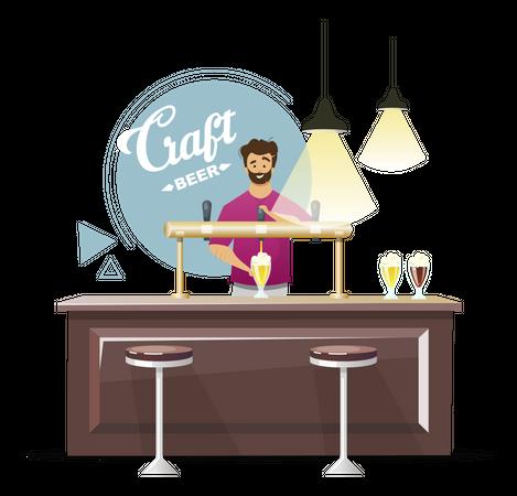 Bartender serving orders Illustration