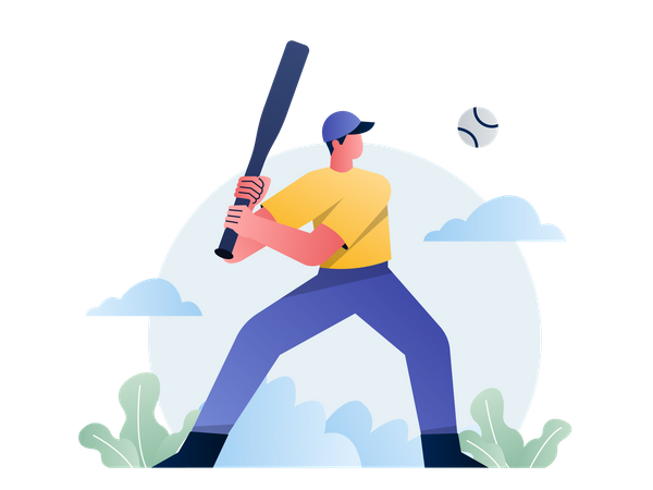 Baseball Player hitting ball Illustration