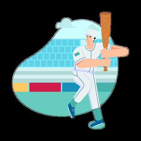 Baseball Player holding bat Illustration