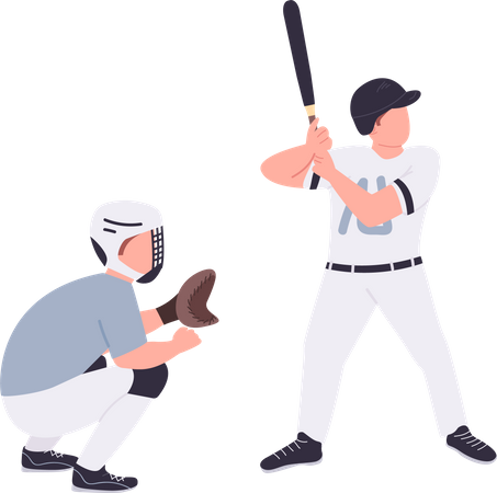 Baseball players playing baseball Illustration