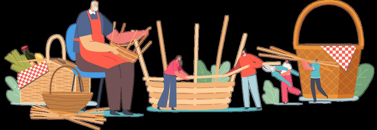 Basket Weaving Illustration