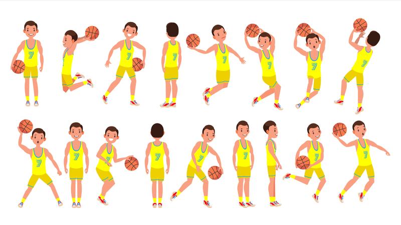 Basketball Male Player Vector Illustration