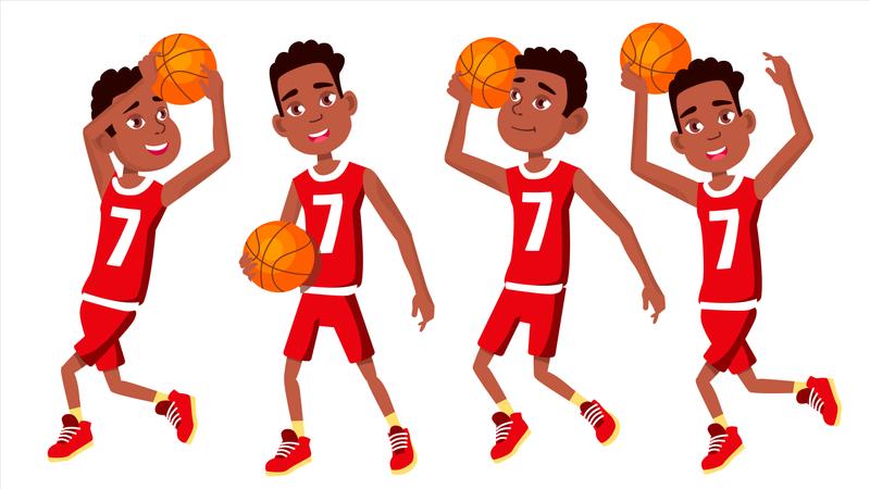 Basketball Player Child Set Illustration