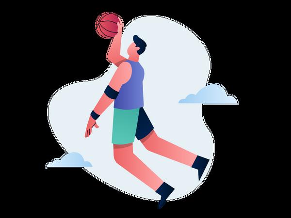 Basketball player hitting goal Illustration