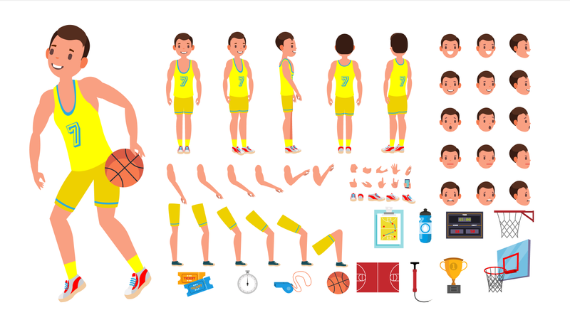 Basketball Player Male Vector. Animated Character Creation Set. Basketball Player Man. Full Length, Front, Side, Back View, Accessories, Poses, Face Emotions. Isolated Flat Cartoon Illustration Illustration