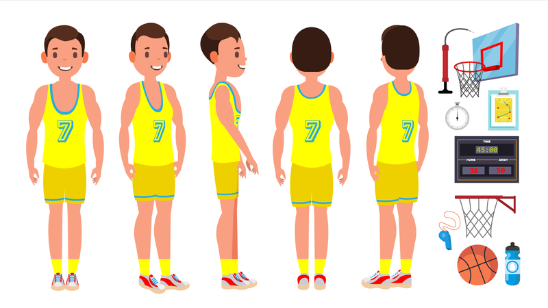 Basketball Player Male Vector. Different Position. Healthy Lifestyle. Isolated Flat Cartoon Character Illustration Illustration