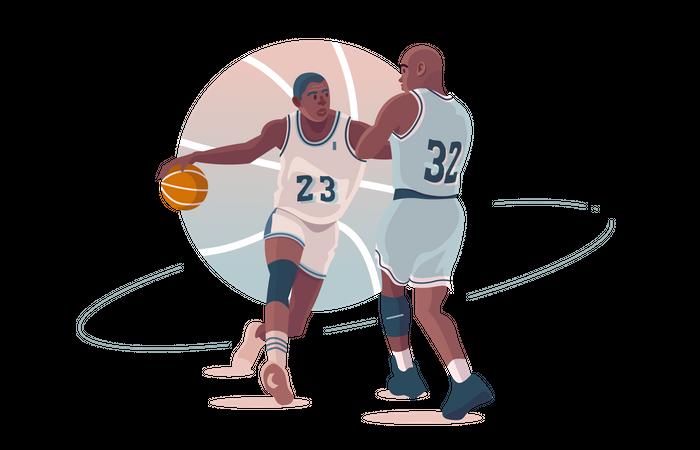 Basketball players playing basketball Illustration