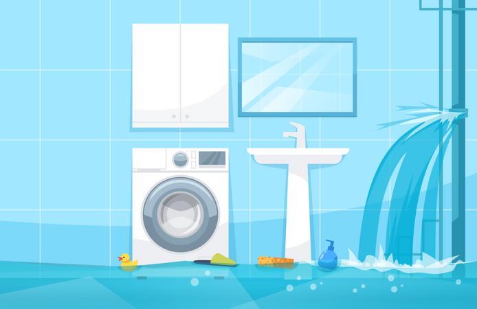 Bathroom flood Illustration
