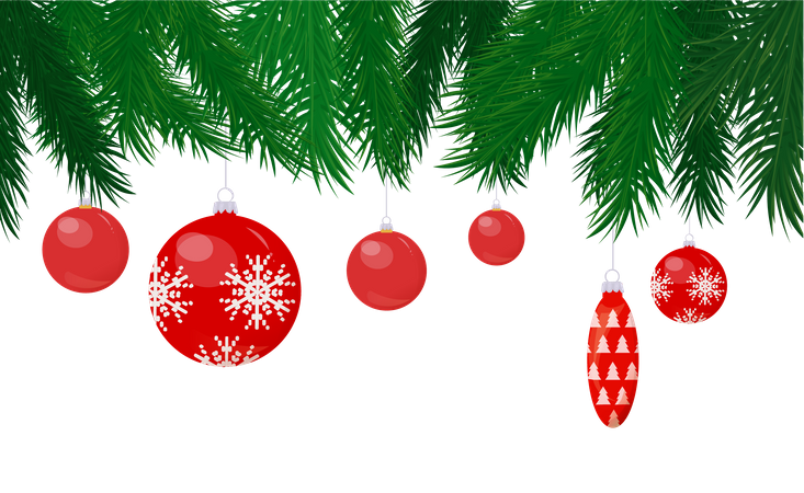 Baubles and Cone Toy Hanging on Christmas Tree Illustration