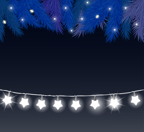 Baubles And Shining Stars Garlands Illustration