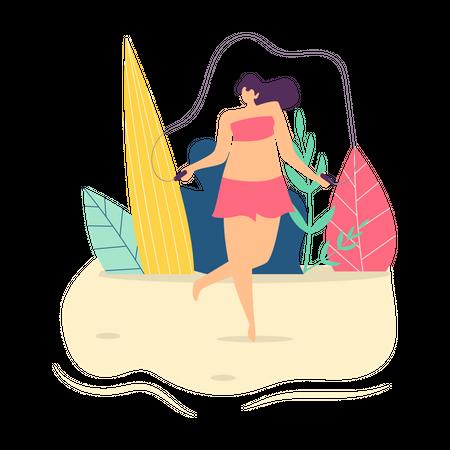 Be Happy Woman Motivation Text Flat Cartoon Card Illustration