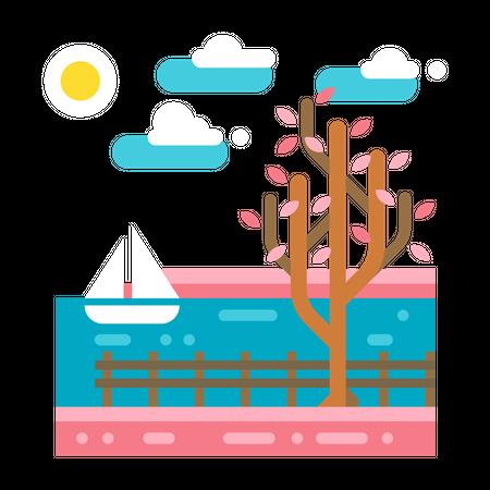 Beach area Illustration