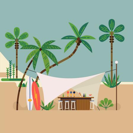 Beach bar with palm trees Illustration
