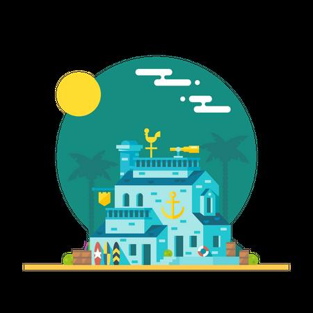 Beach building Illustration