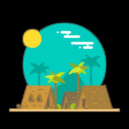 Beach bungalow Illustration