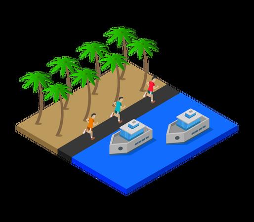 Beach Enjoyment Illustration