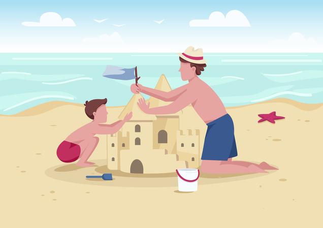 Beach family activity Illustration