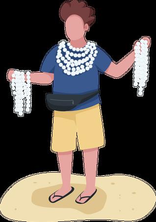 Beach merchant with souvenirs Illustration