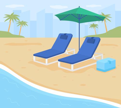 Beach resort vacation Illustration