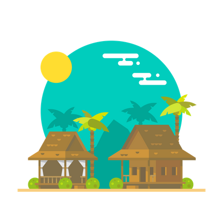 Beach Restaurant Illustration