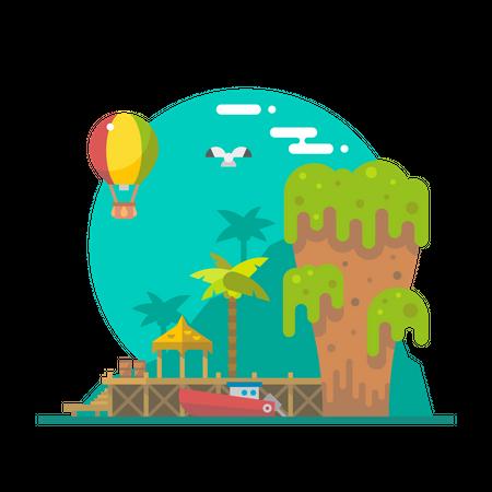 Beach tent Illustration