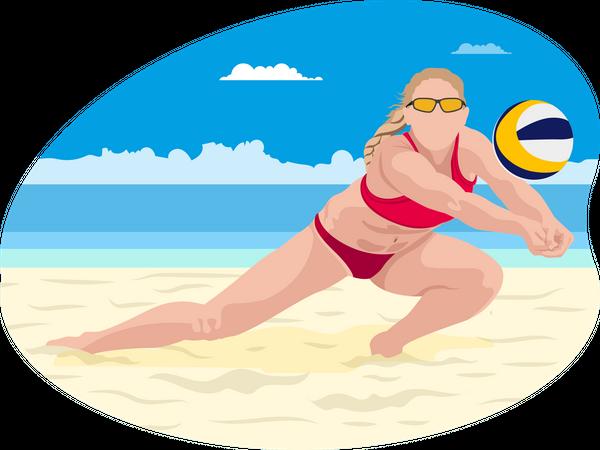 Beach volleyball player Illustration