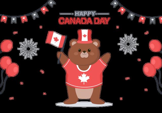 Bear doing Happy Canada Day Celebration Illustration