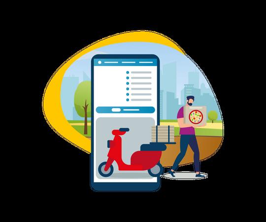 Bearded Cartoon Guy Shipping Pizza Box Illustration