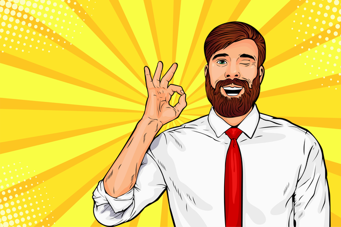 Bearded hipster man in glasses winks and shows okay or OK gesture Illustration
