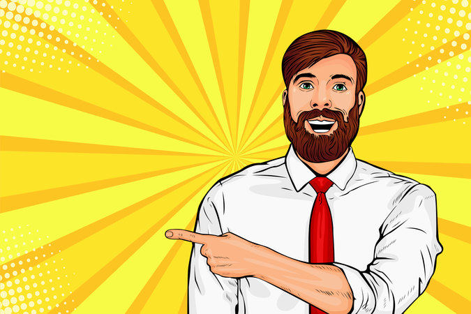 Bearded hipster man with shocked facial expression Illustration