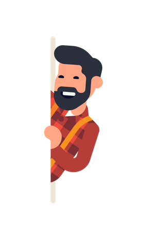 Bearded man popping out from behind of banner with copy space Illustration
