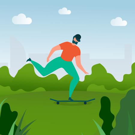 Bearded Man riding Skateboard Illustration