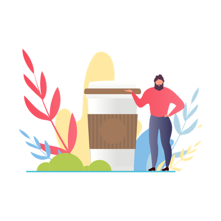 Bearded Man Standing near Huge Coffee Cup Illustration