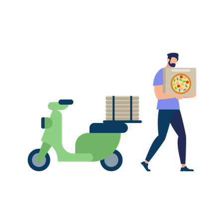Bearded Man Wearing Blue Shirt Carrying Pizza Box for delivery Illustration