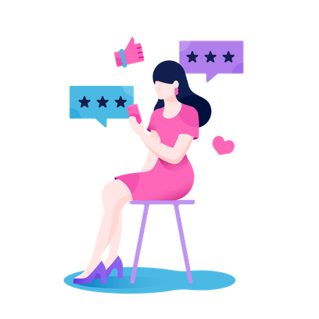 Beautiful girl sitting on chair and giving feedback in smartphone after shopping Illustration