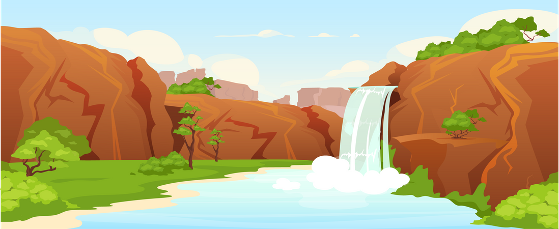 Beautiful oasis Illustration