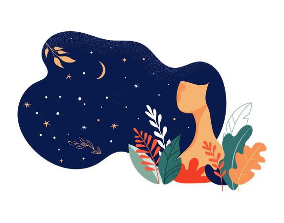 Beautiful woman decorated with stars, flowers and leaves Illustration