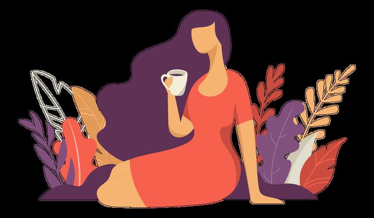 Beautiful woman having coffee Illustration
