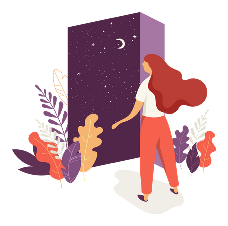Beautiful woman opens the door with a night sky view Illustration