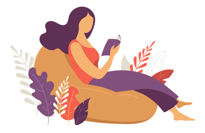 Beautiful woman with a book Illustration