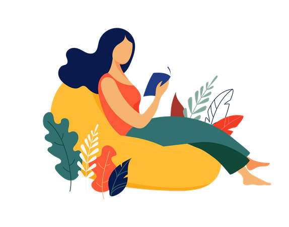 Beautiful woman with book Illustration