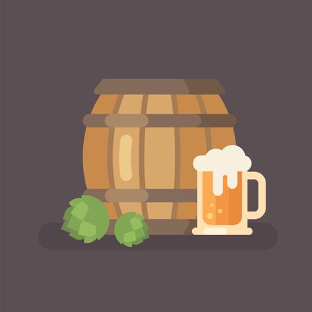 Beer barrel, hop and beer mug Illustration