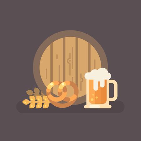 Beer barrel, pretzel, wheat and beer mug Illustration