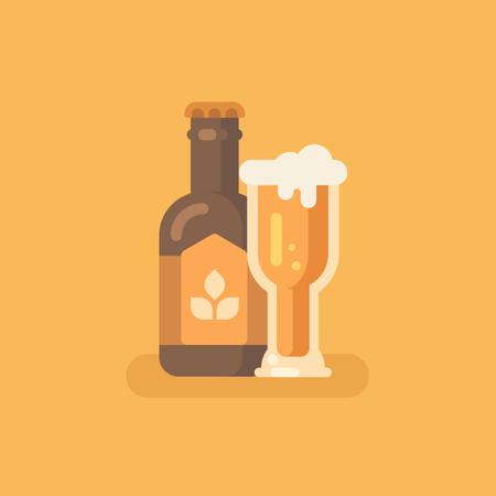 Beer bottle and beer glass on orange background Illustration