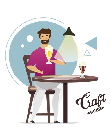 Beer Crafter doing production of beer Illustration