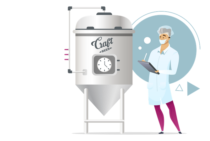 Beer crafting brewing stage Illustration